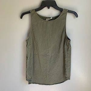Olive Chambray Button Back High Neck Tank Small